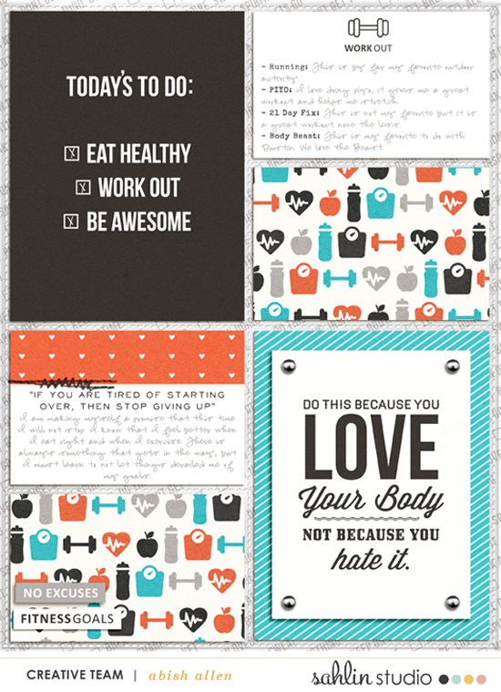 Fitness Goals pocket scrapbooking page using Love your Body by Sahlin Studio