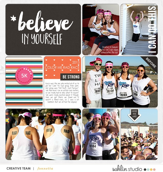 Believe In Yourself double page Pocket Scrapbooking page using Love your Body by Sahlin Studio