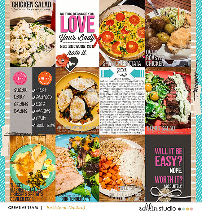 Clean Eating digital scrapbooking page using Love your Body by Sahlin Studio