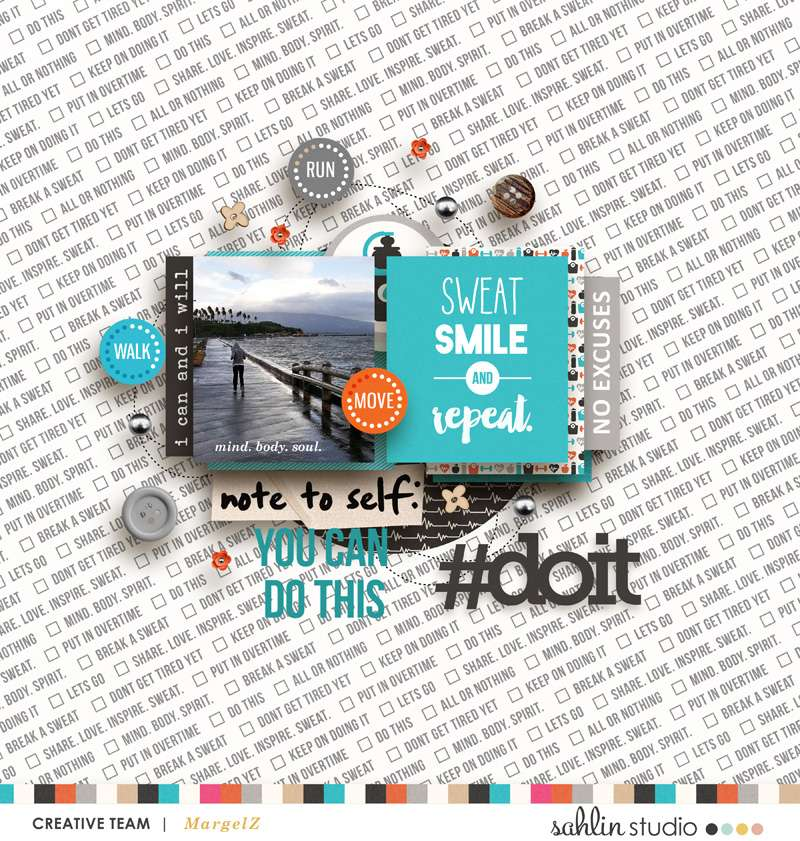 Smile Sweat Repeat digital scrapbooking page using Love your Body by Sahlin Studio