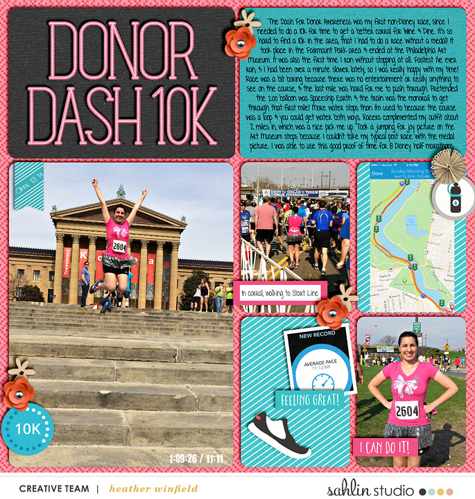 Donor Dash 10k pocket scrapbooking page using Love your Body by Sahlin Studio