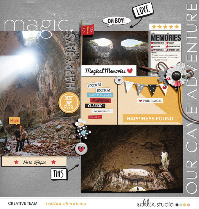 Our Cave Adventure digital scrapbooking page using  Project Mouse: Classic by Britt-ish Designs and Sahlin Studio