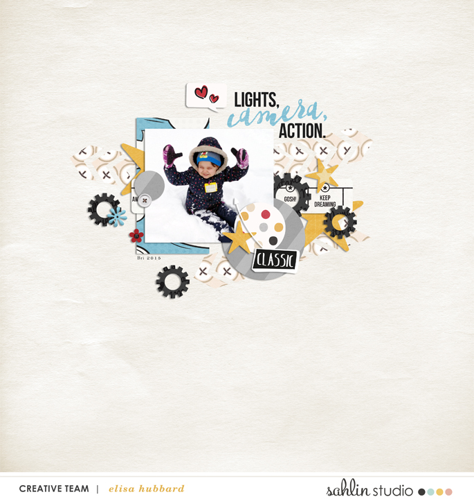 Lights Camera Action digital scrapbooking page using  Project Mouse: Classic by Britt-ish Designs and Sahlin Studio