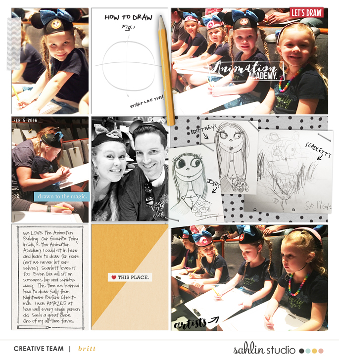 Disney Drawn to the Magic Project Life page using  Project Mouse: Classic by Britt-ish Designs and Sahlin Studio