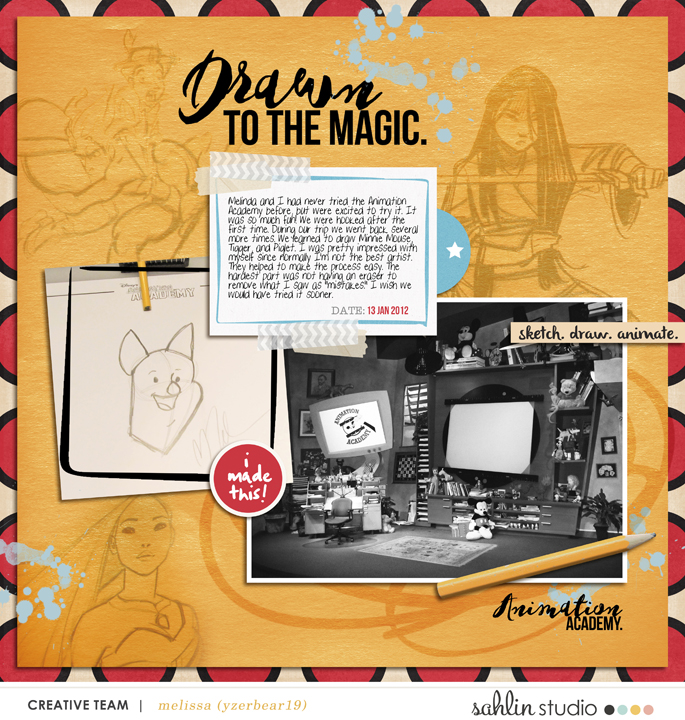 Disney Drawn to the magic digital scrapbooking page using  Project Mouse: Classic by Britt-ish Designs and Sahlin Studio