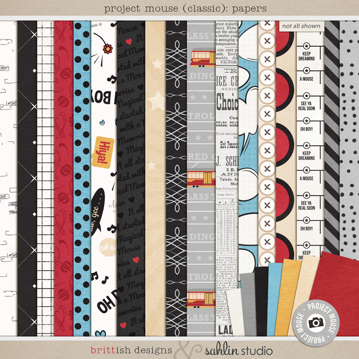 Project Mouse: Papers by Britt-ish Designs and Sahlin Studio - Perfect for Disney Hollywood Studio, Mickey Project Mouse or Project Life Albums!!