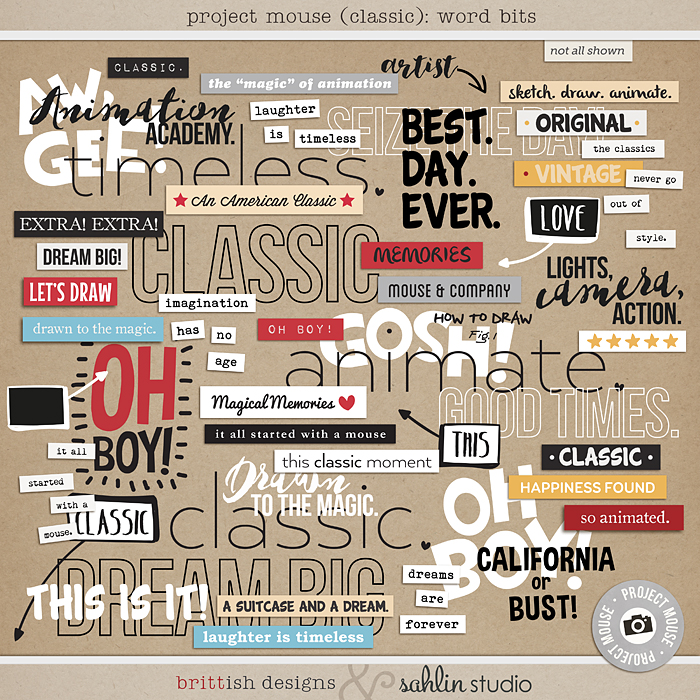 Project Mouse: Word Art & Bits by Britt-ish Designs and Sahlin Studio - Perfect for Disney Hollywood Studio, Mickey Project Mouse or Project Life Albums!!