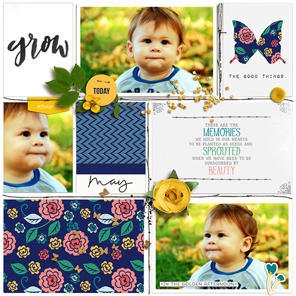 Project Life page using Memory Pockets Monthly (MPM) Kit & Journal Cards Subscription | BLOOM at the LilyPad - Perfect for Project Life albums!!