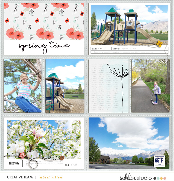 "Spring Time digital project life page using Photo Journal No.2 (4x6"" Templates) by Sahlin Studio"