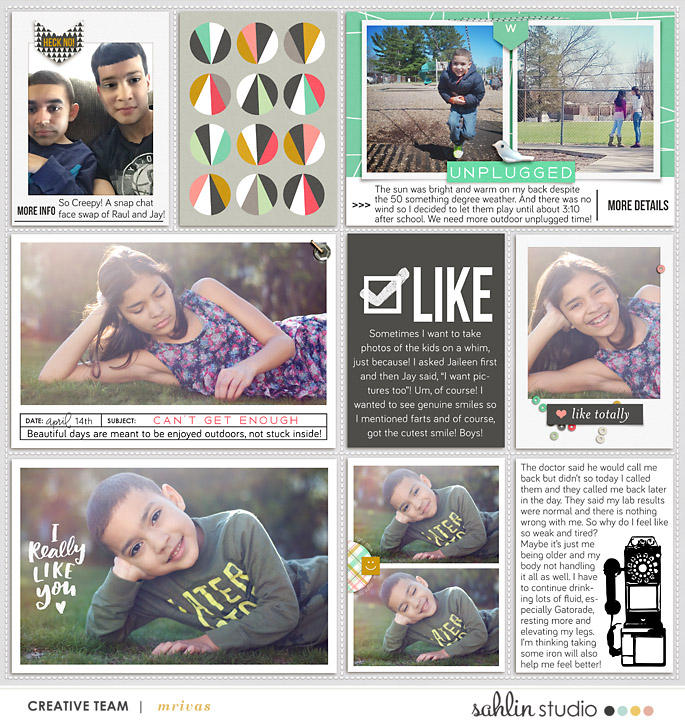 "Like digital project life page using Photo Journal No.2 (4x6"" Templates) by Sahlin Studio"
