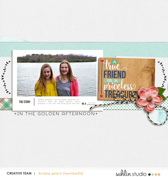 "True friend digital scrapbooking page using Photo Journal No.2 (4x6"" Templates) by Sahlin Studio"