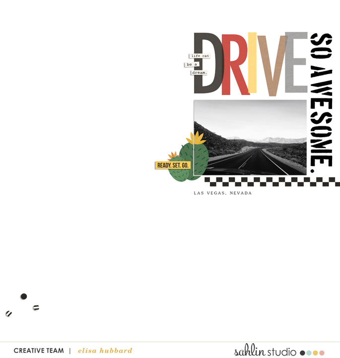 Drive digital scrapbooking page using Project Mouse (Cars) by Britt-ish Designs and Sahlin Studio