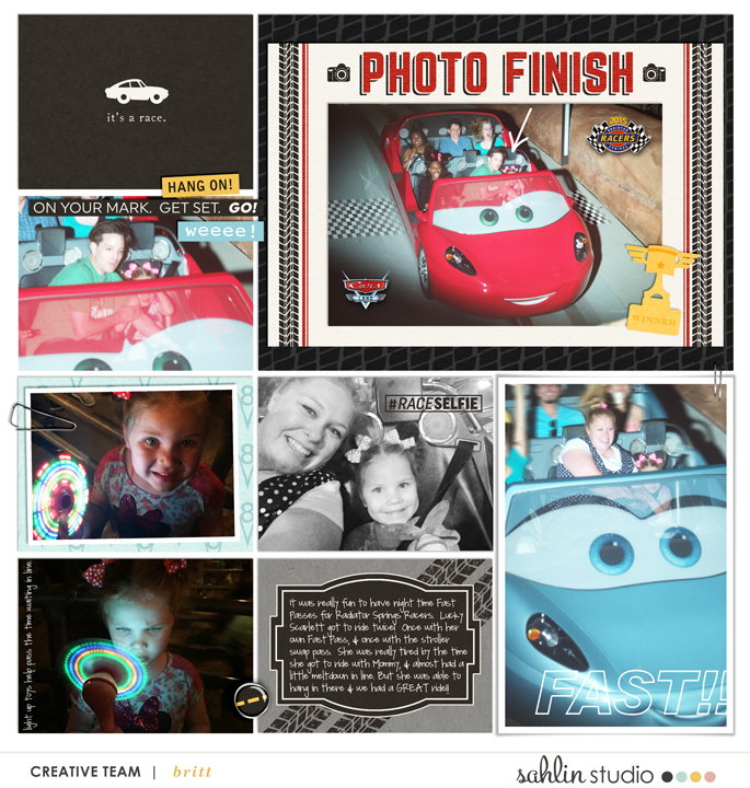 Disney's Cars digital scrapbooking page using Project Mouse (Cars) by Britt-ish Designs and Sahlin Studio