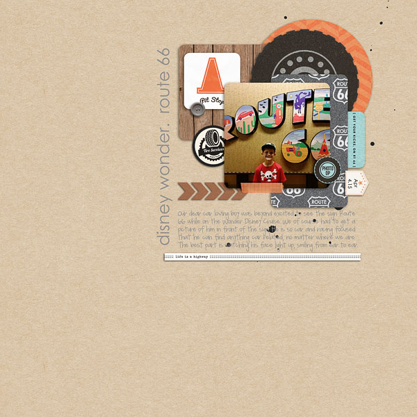 Route 66 at Disney Wonder Cruise digital scrapbooking page using Project Mouse (Cars) by Britt-ish Designs and Sahlin Studio