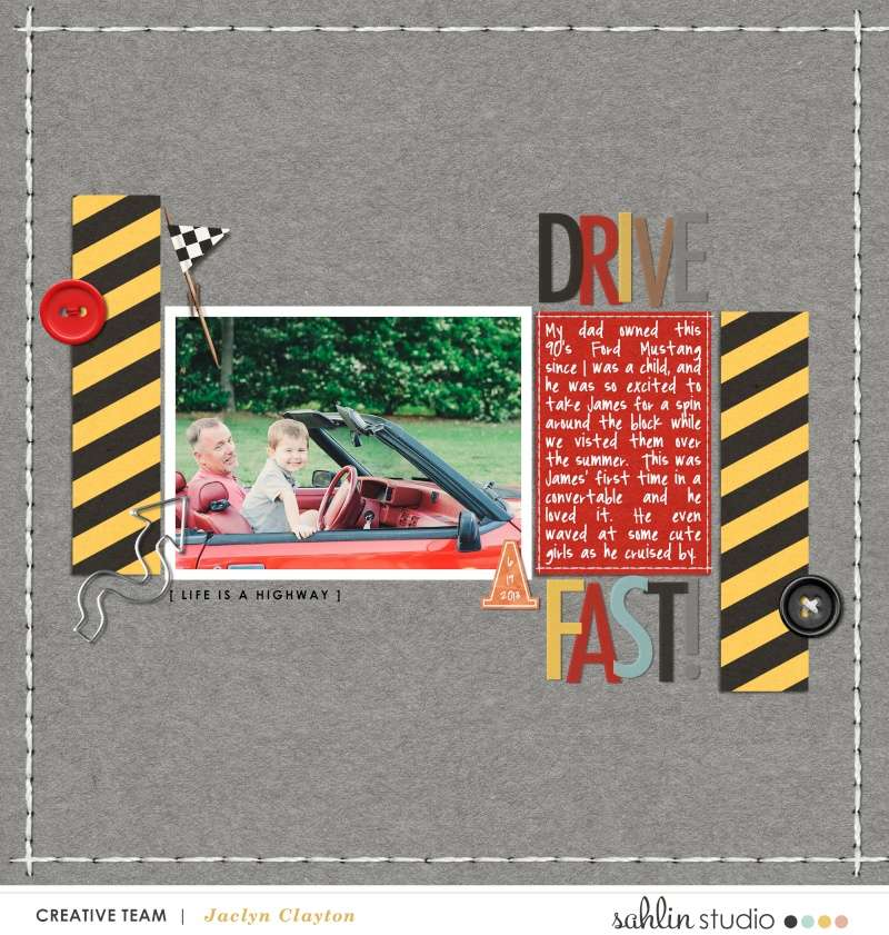 Drive Fast digital scrapbook page using Project Mouse (Cars) by Britt-ish Designs and Sahlin Studio