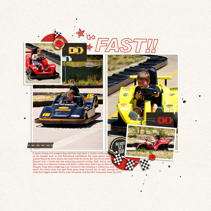 Go Fast digital scrapbooking page by jk703 using Project Mouse (Cars) by Britt-ish Designs and Sahlin Studio