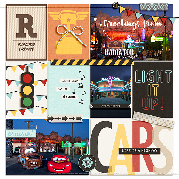 Disney Radiator Springs digital pocket scrapbooking page by julie using Project Mouse (Cars) by Britt-ish Designs and Sahlin Studio
