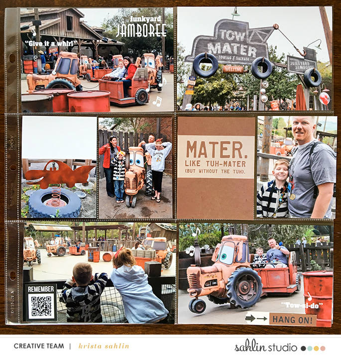 Disney's Carsland hybrid pocket scrapbooking page using Project Mouse (Cars) by Britt-ish Designs and Sahlin Studio