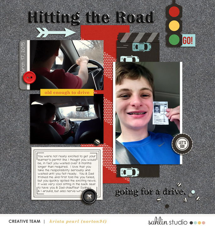 Hitting The Road digital scrapbooking page using Project Mouse (Cars) by Britt-ish Designs and Sahlin Studio