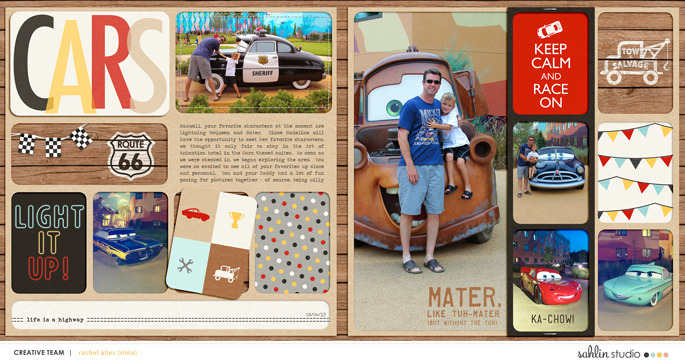 Disney's Carsland digital double pocket scrapbooking page using Project Mouse (Cars) by Britt-ish Designs and Sahlin Studio