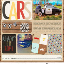 Disney's Carsland digital double pocket scrapbooking page (L) using Project Mouse (Cars) by Britt-ish Designs and Sahlin Studio