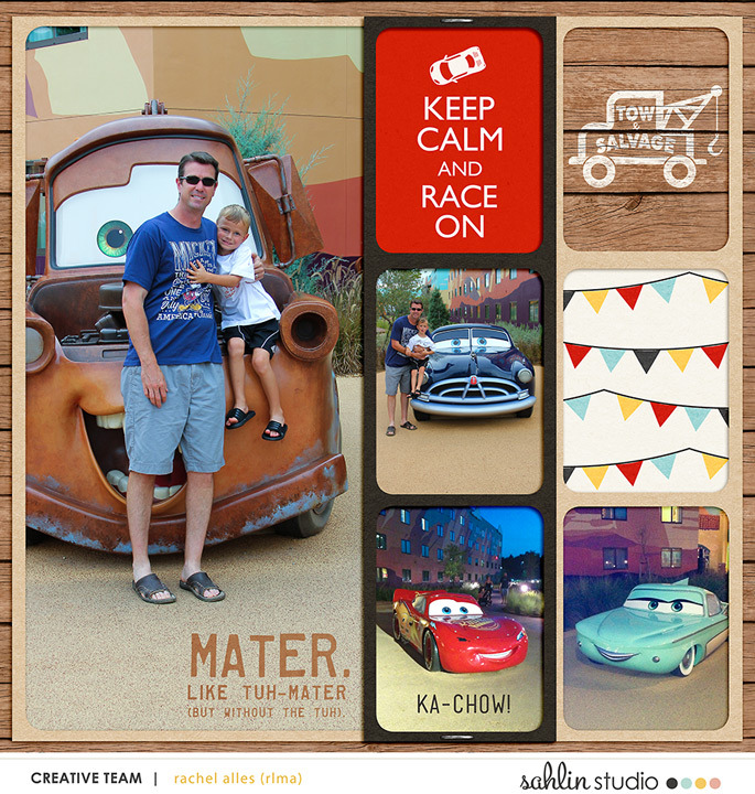 Disney's Carsland digital double pocket scrapbooking page (R) using Project Mouse (Cars) by Britt-ish Designs and Sahlin Studio