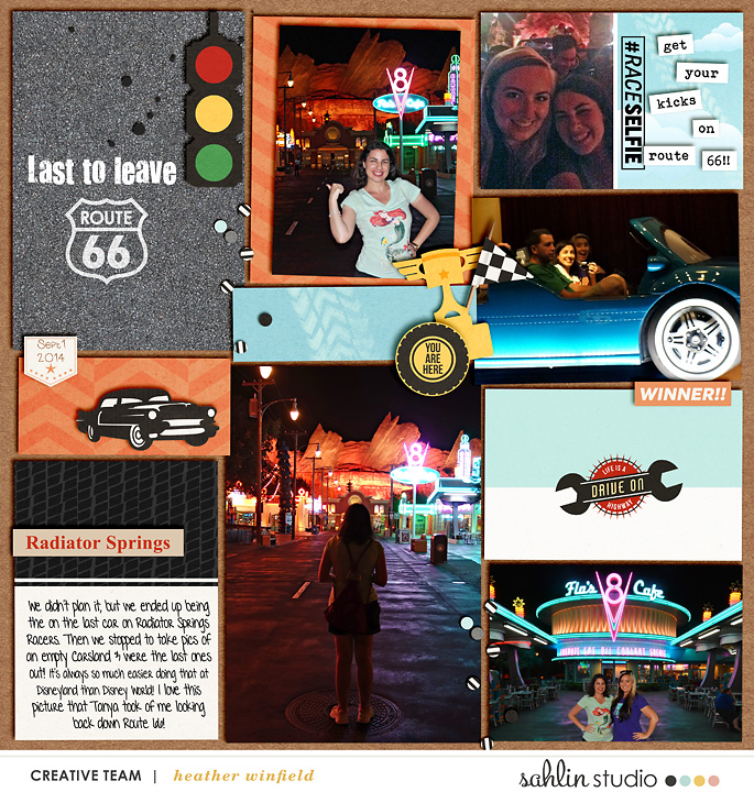 Radiator Springs digital pocket scrapbooking page using Project Mouse (Cars) by Britt-ish Designs and Sahlin Studio