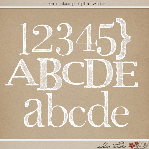 Foam Stamp Alpha: White by Sahlin Studio