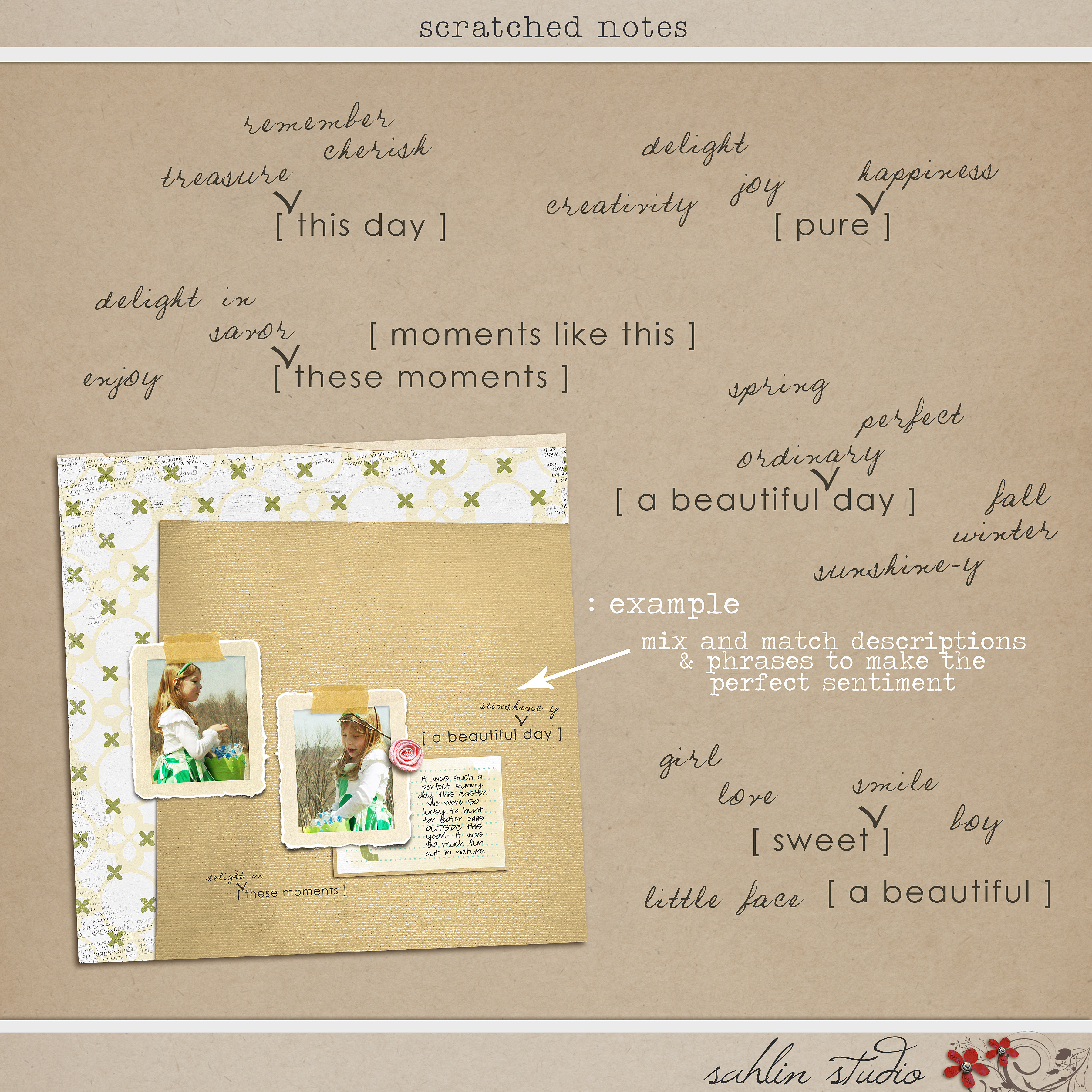 Scratched Notes Sahlin Studio Digital Scrapbooking Designs