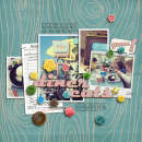layout featuring Woodgrain Papers by Sahlin Studio