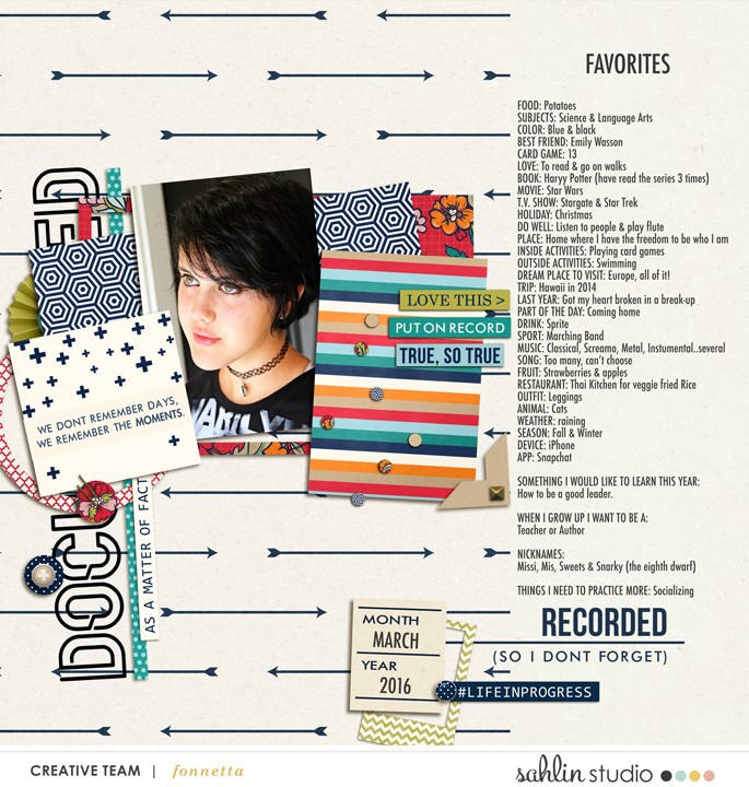 layout by fonnetta featuring Documentary (Kit) by Sahlin Studio - Perfect for documenting your every memories