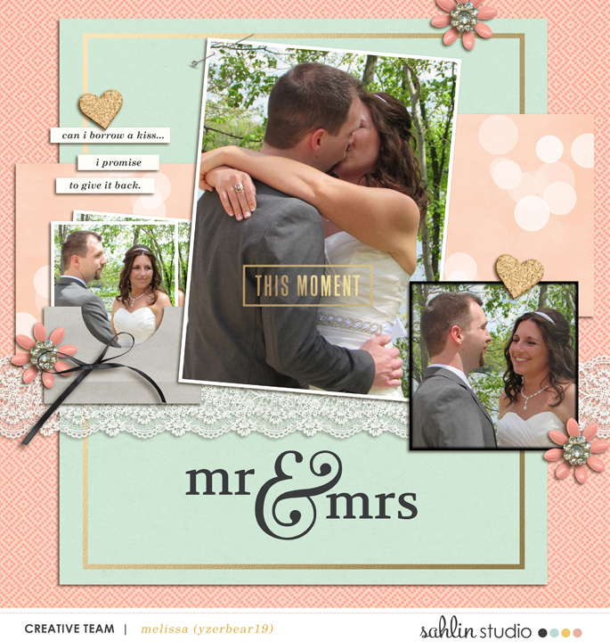 Mr Mrs digital scrapbooking page using Me and You by Sahlin Studio