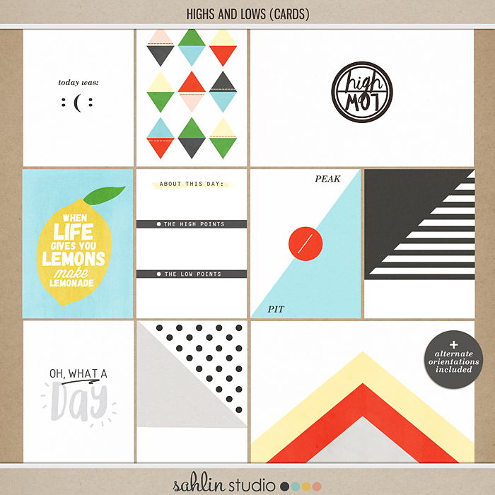 High and Low (Journal Cards) by Sahlin Studio - Perfect for your Project Life Album!!