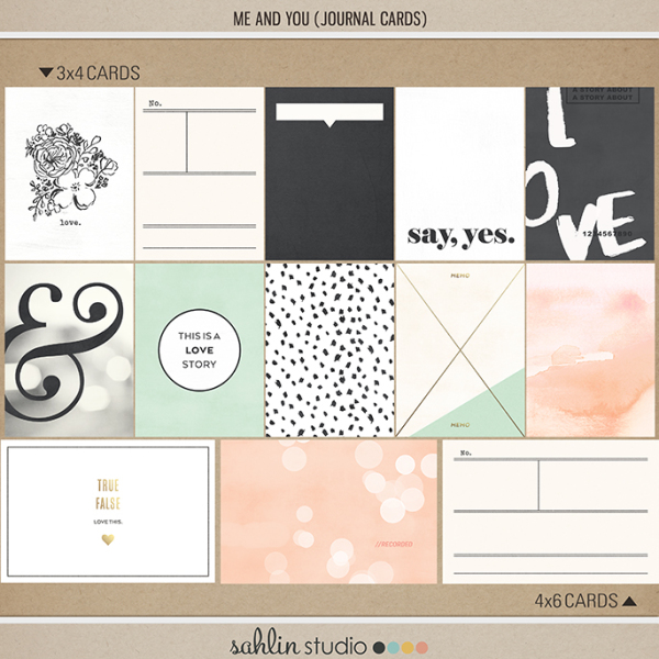 Me and You   Journal Cards by Sahlin Studio - Perfect for your Wedding, Love or everyday Project Life album
