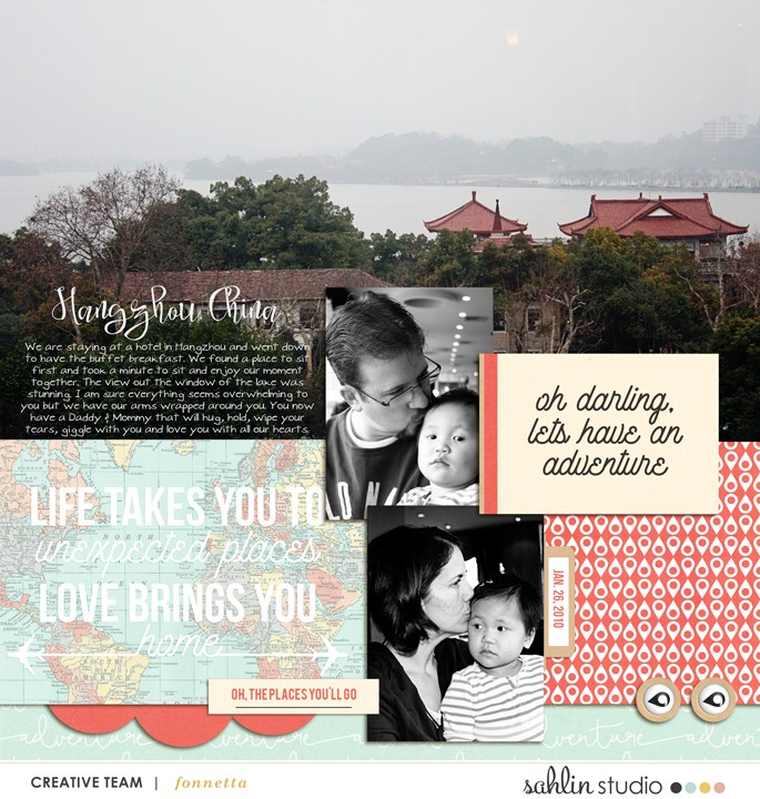 Oh Darling lets have an adventure digital scrapbook page using Life is an Adventure (Journal Cards and Word Art) by Sahlin Studio