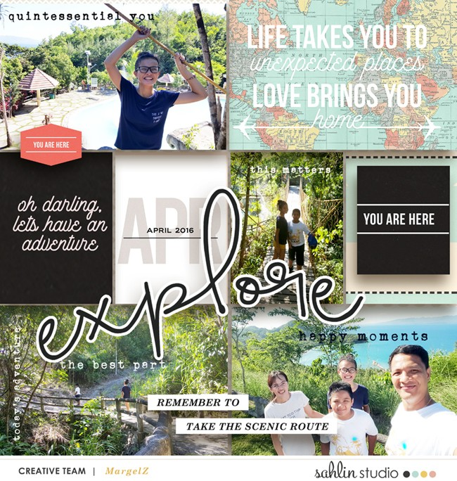 Explore digital scrapbook page using Life is an Adventure (Journal Cards and Word Art) by Sahlin Studio