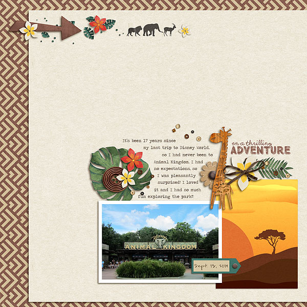 Our Thrilling Adventure  Animal Kingdom digital scrapbooking page using Project Mouse: Animal by Britt-ish Designs and Sahlin Studio