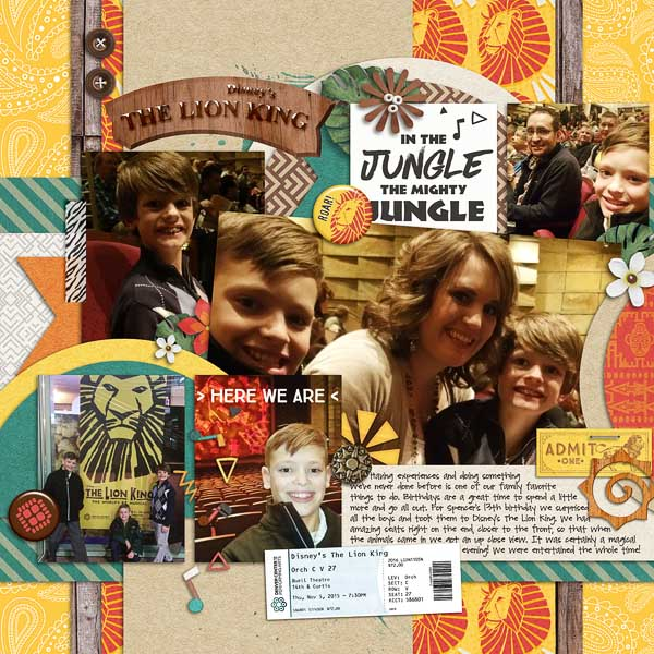 Lion King In the Jungle digital scrapbooking page using Project Mouse: Animal by Britt-ish Designs and Sahlin Studio