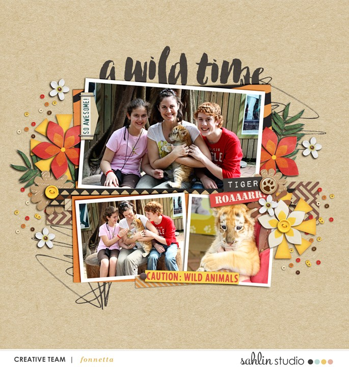 A Wild Time digital scrapbooking page using Project Mouse: Animal by Britt-ish Designs and Sahlin Studio