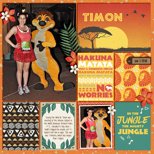 Animal Kingdom Timon Meet and Greet digital pocket scrapbooking page by heather  using Project Mouse: Animal by Britt-ish Designs and Sahlin Studio