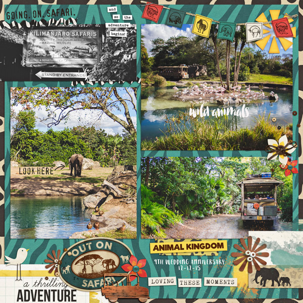 Kilimanjaro Safari Animal Kingdom digital scrapbooking page using Project Mouse: Animal by Britt-ish Designs and Sahlin Studio