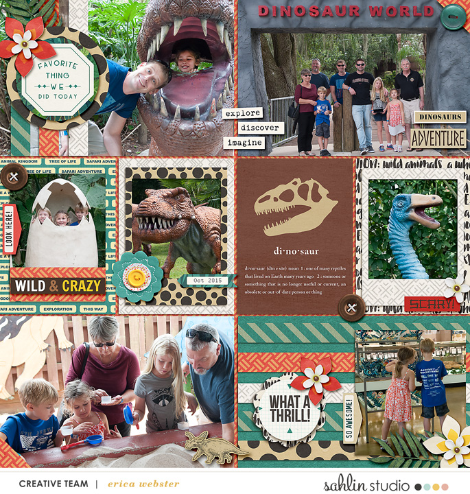 Dinosaurs Animal Kingdom Project Life page using Project Mouse: Animal by Britt-ish Designs and Sahlin Studio