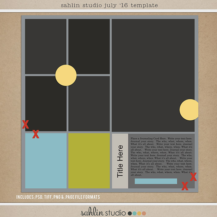 July 2016 Template by Sahlin Studio - Digital scrapbook templates perfect for making pages in a snap!