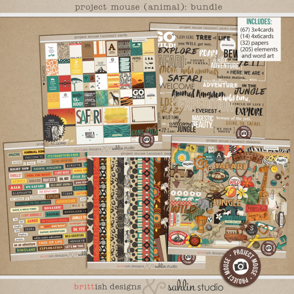 Project Mouse: Animal Papers by Britt-ish Designs and Sahlin Studio - Perfect for documenting Project Life for Animal Kingdom, safari,