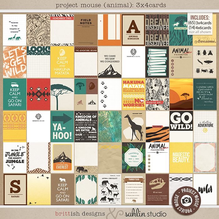 Project Mouse: Journal Cards  by Britt-ish Designs and Sahlin Studio -  Perfect for documenting Project Life for Animal Kingdom, safari,