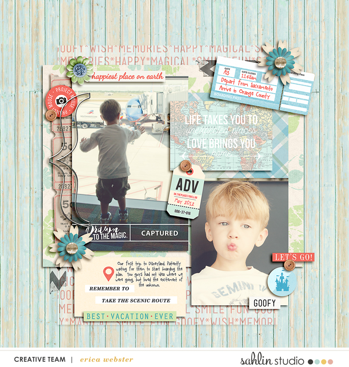 Digital Scrapbook page using digital supplies by Sahlin Studio - Photo Templates