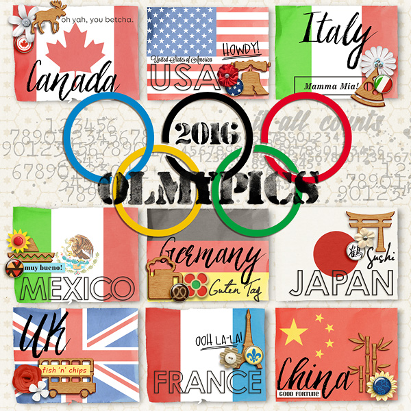2016 Olympics digital sccrapbook Layout page using Project Mouse (World): by Britt-ish Design and Sahlin Studio