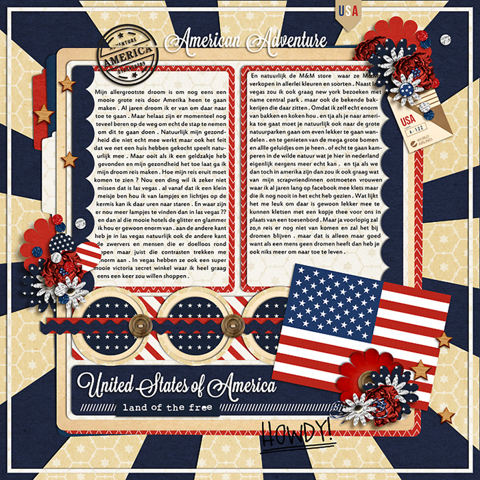 Celebrate America United States of America Digital Scrapbook Layout page using Project Mouse (World): America by Britt-ish Design and Sahlin Studio