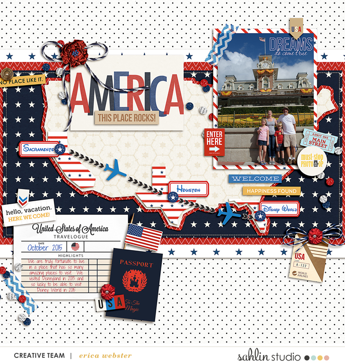 America Traveling Across Country  Disney Digital Scrapbook Layout page using Project Mouse (World): America by Britt-ish Design and Sahlin Studio