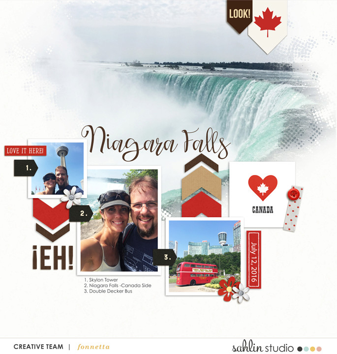 Niagara Falls Digital Scrapbook Layout page using Project Mouse (World): Canada by Britt-ish Design and Sahlin Studio